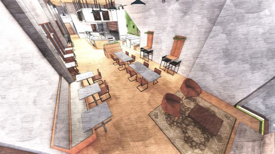 A sketch of the many times of seating planned for Isaac's Downtown, a second cafe from IKE Box.