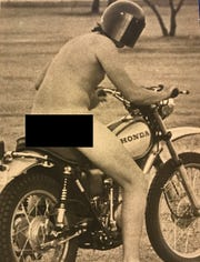 An Angelo State University student takes a daring nude ride on campus with his motorcycle during the streaking epidemic in San Angelo, March 4, 1974.
