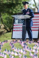 Col. Ricky Mills, commander of the 17th Training Wing of Goodfellow, speaks during  a 9/11 Memorial Ceremony Tuesday, Sept. 11, 2018, at the monument near Celebration Bridge.