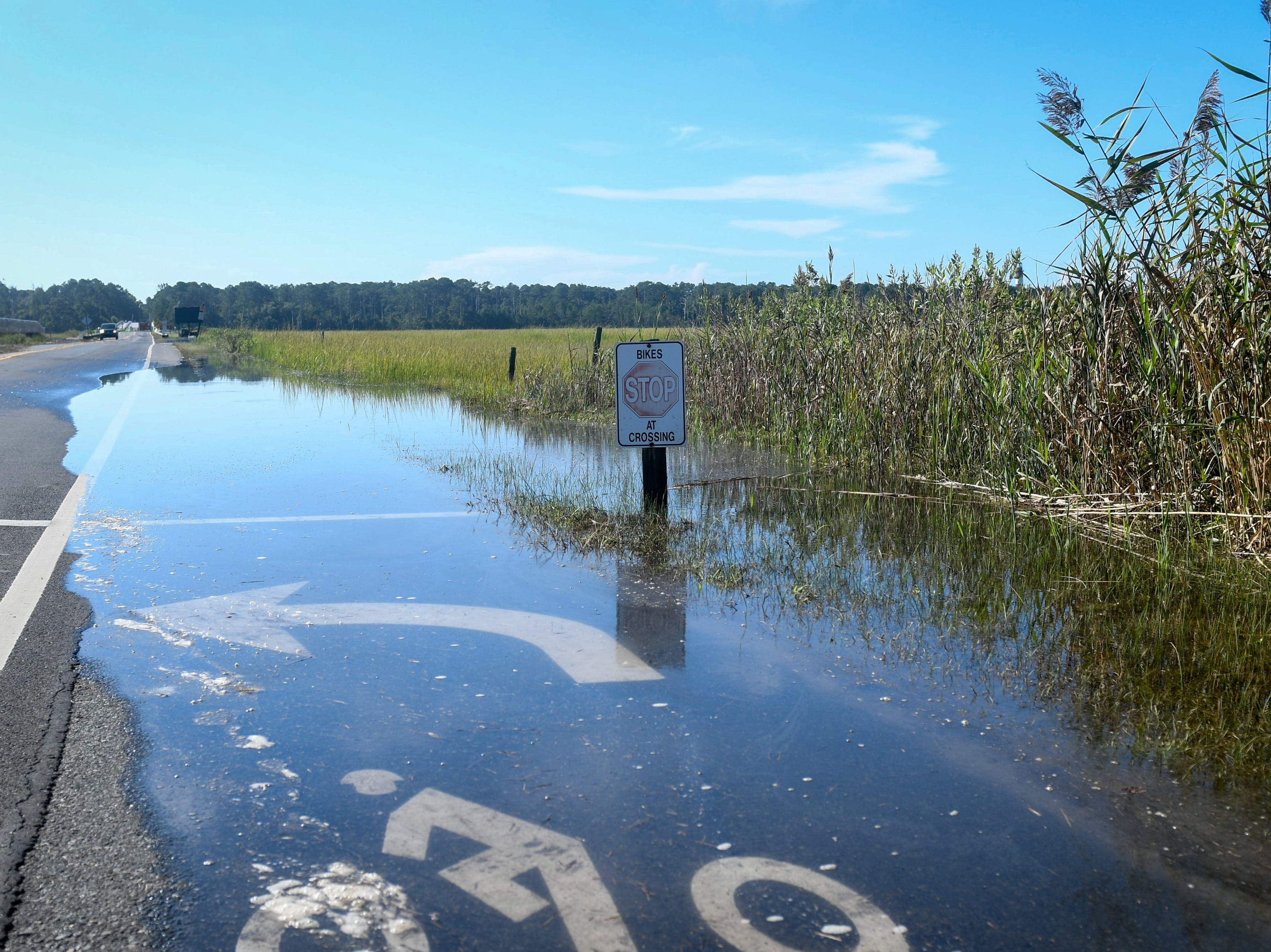Mild flooding on Chincoteague Island during high tide on Tuesday, Sept. 11. The island is part of the state's zone A evacuation that was issued in advance of Hurricane Florence, but local officials have not asked residents to leave yet.