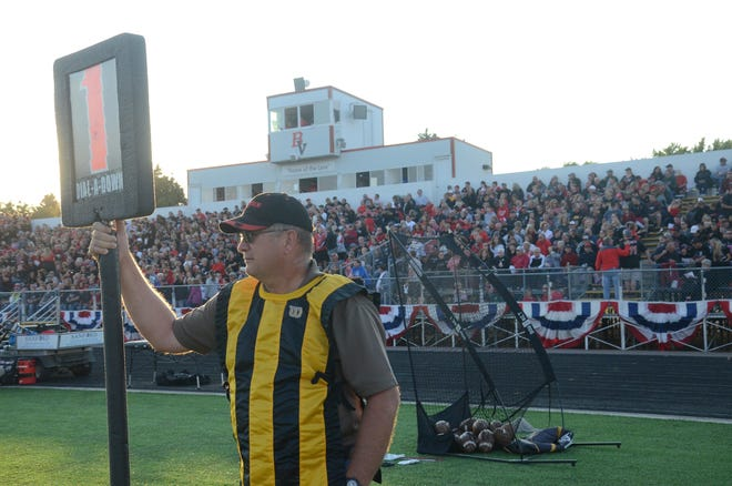 Greg Peterson is in his 21st year working the sidelines at Brandon Valley football games.