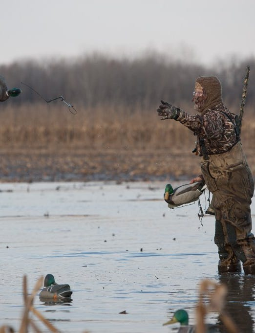 A duck hunter getting ready for a teal hunt.