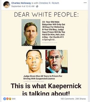 "A viral image captioned ""Dear white people: This is what Kaepernick is talking about!"" features the mugshot of a Springfield man who pleaded guilty to molesting an 8-year-old boy."