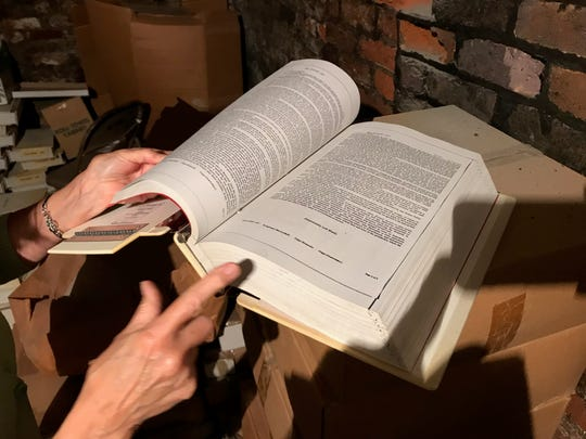 One of hundreds of deed books that were relocated Tuesday from the basement of the Augusta County Courthouse.