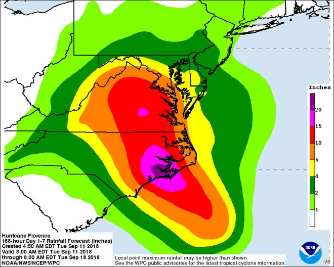 NOAA rainfall prediction 5 a.m. Tuesday