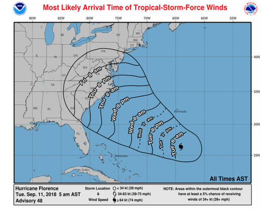 Most likely arrival time shifts to Friday morning. Updated Tuesday at 10:30 a.m.