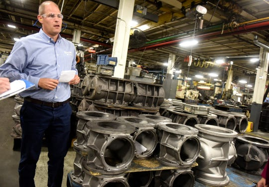 CEO and President Bryan Burns talks about the processes used in manufacturing valves Monday, Sept. 10, 2018, at the DeZURIK plant in Sartell.
