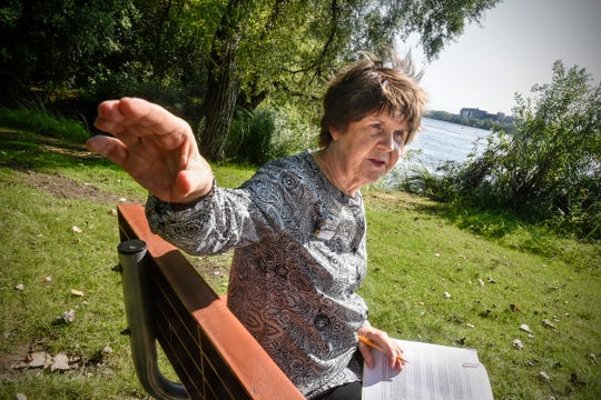 Brenda Graves talks about neighborhood opposition to proposed developments Monday, Sept. 10, at Southside Park in Sauk Rapids.