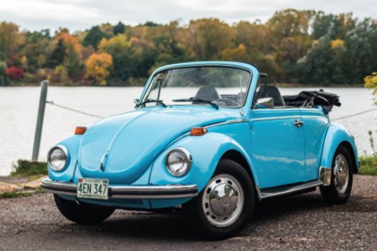 The 1973 Volkswagen Super Beetle Convertible is one of Morrie's Heritage's Level 1 cars, rentable for only $100 a day.