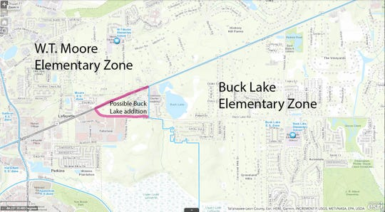 Possible rezone between W.T. Moore and Buck Lake elementary schools. The blue lines show the existing zones, the pink lines show the changes Superintendent Rocky Hanna floated to the board.