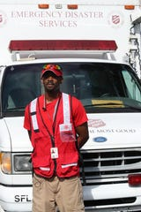 Salvation Army Disaster Relief volunteer, Ronnie Clark  with the Salvation Army Emergency Disaster Services truck before departing from the local Salvation Army to assist with Hurricane Florence victims on September 11, 2018.