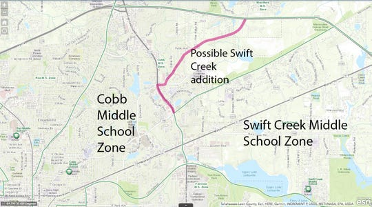 Possible rezone between Swift Creek and Cobb middle schools. The green lines show the existing zones, the pink lines show the changes Superintendent Rocky Hanna floated to the board.
