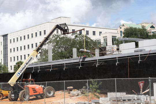 The early stage of construction at the Florida State Capitol building's parking garage on September 11, 2018.