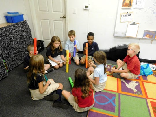 Students at Christ Classical Academy are challenged to write original compositions using classroom instruments