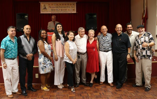 Carlos Mejia, left, Angel Pellot, Maritza Rivera, Rosanna Parra, Linda Manzanares, Leo Román, Mercy Román, Eliézer Torres, Ruben Aleman, Ray Guadalupe and Charlie Quiles attended the Spanish American Club's Disco Extravaganza in August.