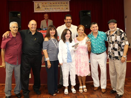 Spanish American Club members celebrating birthdays, door prize and 50/50 winners, from left, Luis Carrillo, Ruben Aleman, Nancy Rozon, Ray Guadalupe, Nancy Ramos, Galud Segura, Carlos Mejia and Charlie Quiles.
