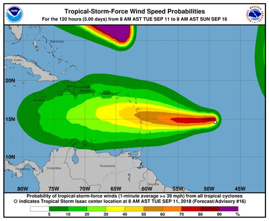 Tropical Storm Isaac 8 a.m. Sept. 11, 2018.