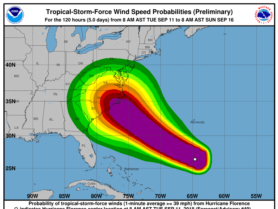 Hurricane Florence winds forecast 11 a.m. Sept. 11, 2018.