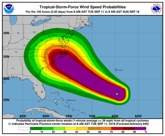 Hurricane Florence 2 p.m. Sept. 11, 2018.