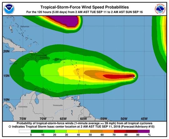 Tropical Storm Isaac 11 a.m. Sept. 11, 2018