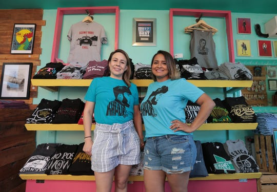 Chuco Relic owner Chelsie Evaldi and Monica Monarez show off their Khalid t-shirts designed by Monarez and her husband Charlie Monarez.