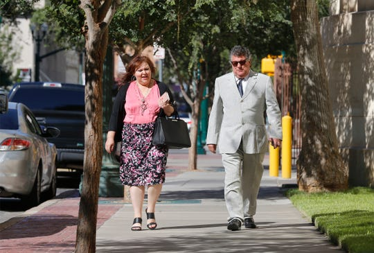 """El Paso businessman William """"Billy"""" Abraham walks to the U.S. Bankruptcy Court in Downtown El Paso Tuesday for a court hearing in his bankruptcy cases."""