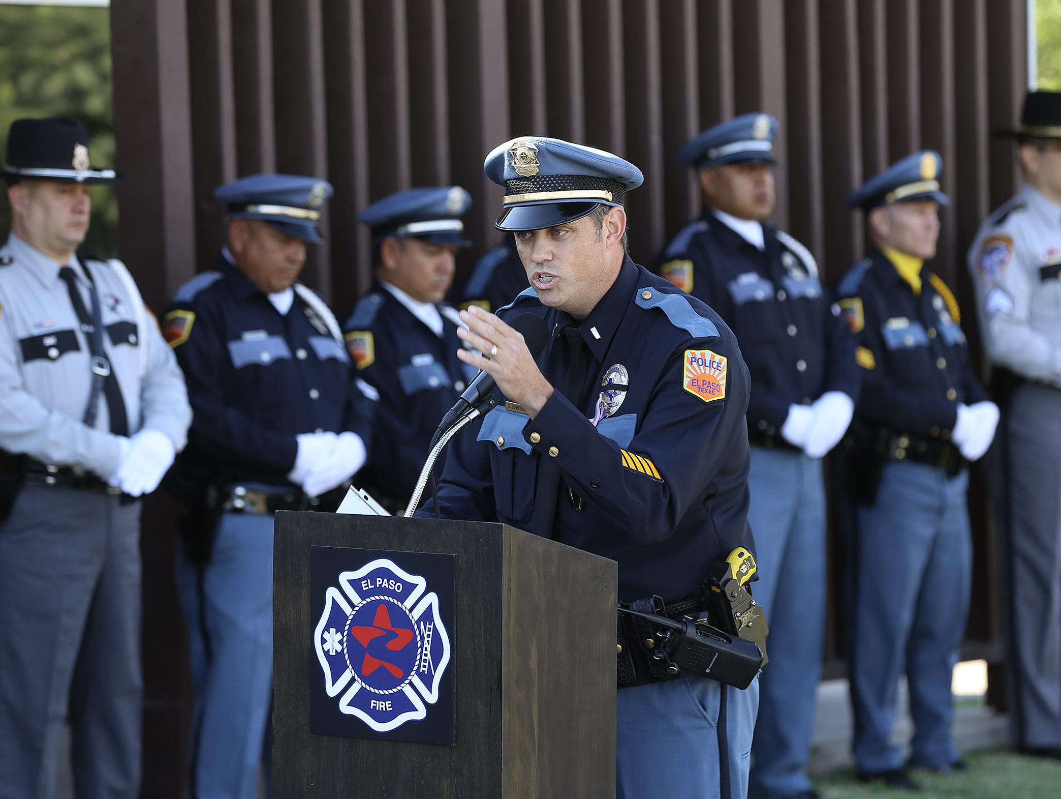 El Paso Police Department Lt. John Schneider recalls 9/11 during the 9/11 Memorial Ceremony Tuesday at Fire Station 18. Schneider was a member of the NYPD during the 9/11 attacks on the World Trade Center.