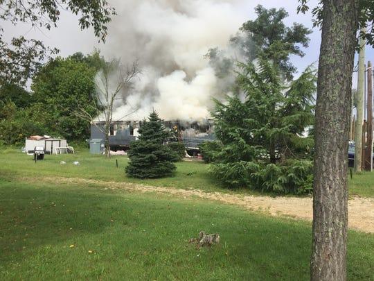 Vineland firefighters battled at fire at Redwood Court Mobile Home Park on Sept. 11, 2018.