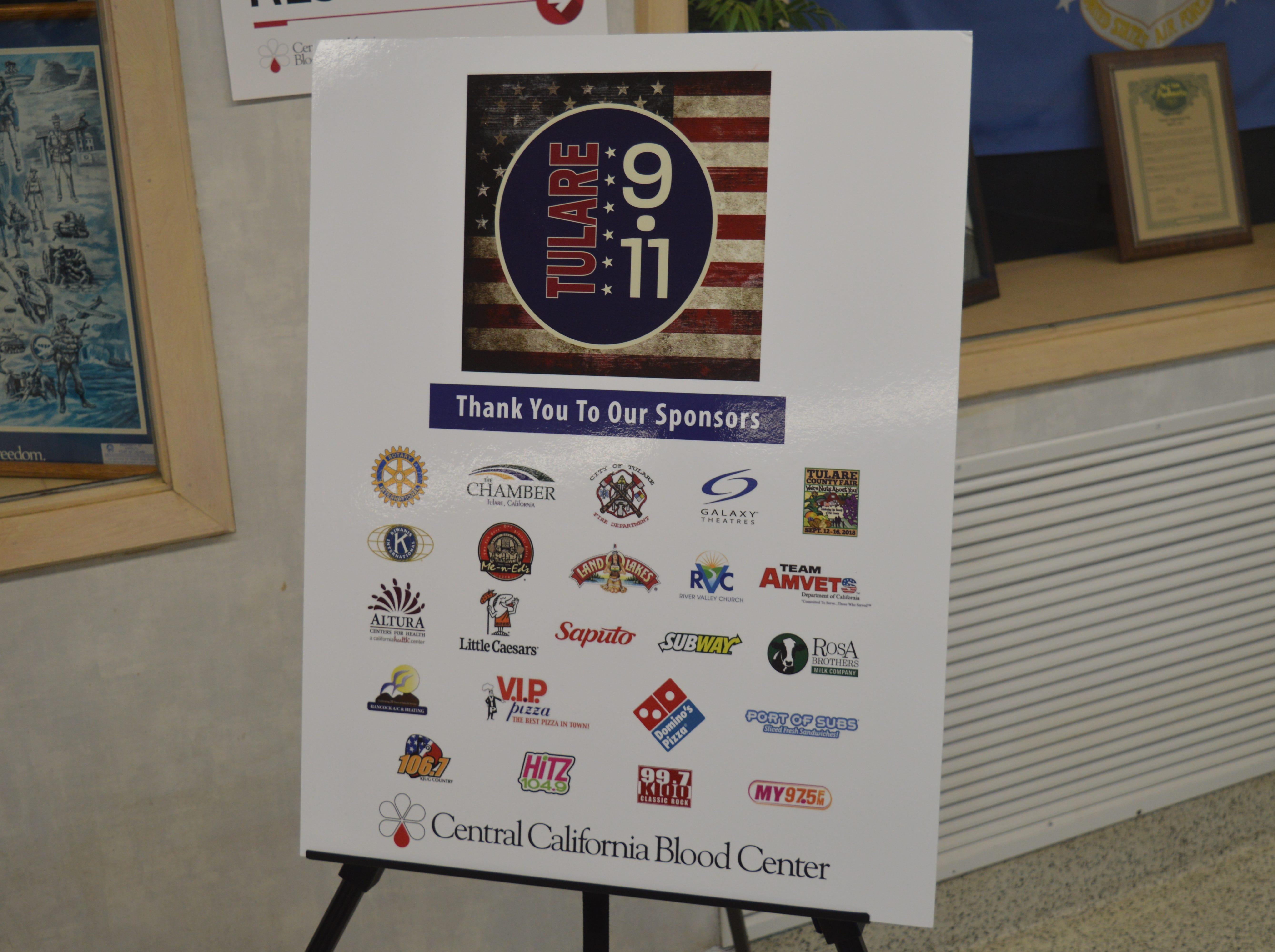 2018 Tulare 9-11 Memorial Blood Drive