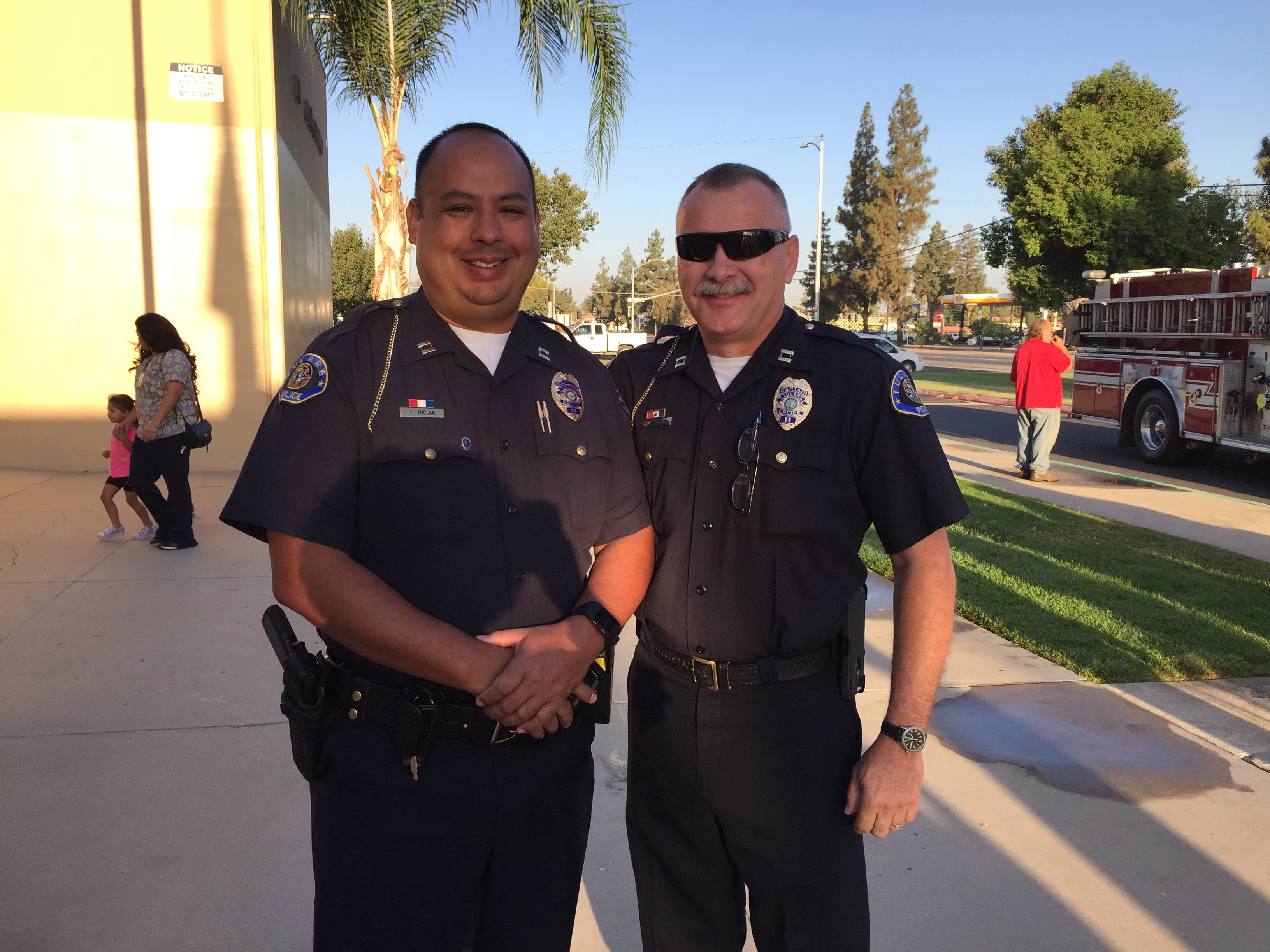 Tulare Police Capt. Fred Ynclan, left, and Interim Police Chief Barry Jones at the 2018 Tulare 9-11 Memorial Service.