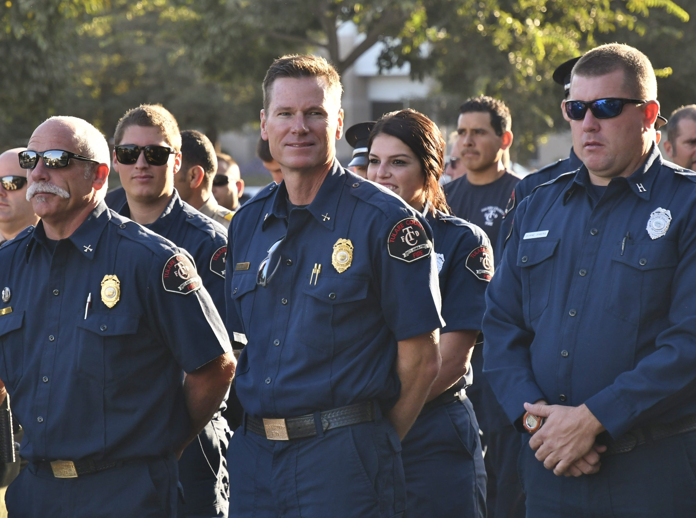 The Tulare County Sheriff's Department and the Tulare County Fire Department held a 9/11 remembrance ceremony on Tuesday. The ceremony was held in remembrance of the terrorist attacks at the World Trade Center, the Pentagon and the crash site at Shanksville, Penn. Sheriff Boudreaux and Fire Chief