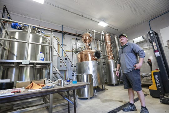 Co-owner Dan Weber talks about the distillery process at Timekeeper Distillery Thursday, Sept. 6, 2018, in Wausau, Wis. T'xer Zhon Kha/USA TODAY NETWORK-Wisconsin
