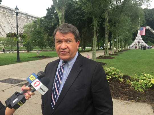 Westchester County Executive George Latimer speaks to reporters after the 9/11 memorial on Sept. 11, 2018 at the Kensico Dam Plaza in Valhalla.