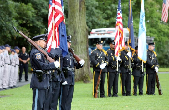 The Rockland County Sheriff Department Honor Guard at the Rockland County September 11 memorial service on the 17th anniversary of the terrorist attacks Sept. 11, 2018 at Haverstraw Bay Park.