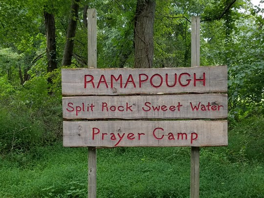 Sign at the entrance to the Split Rock Sweet Water Prayer Camp in Mahwah, New Jersey.