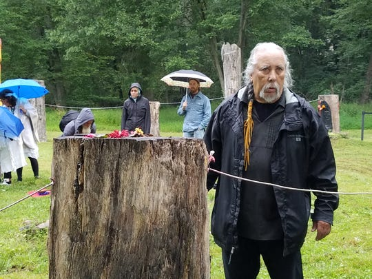 Chief Dwaine Perry at the Ramapough Lenape's Split Rock Sweet Water Prayer Camp on Sept. 9, 2018.