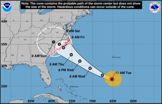 Hurricane Florence's track at 11 a.m. Tuesday