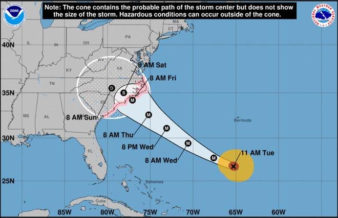 El huracán Florence avanza hacia la costa del South Carolina. Este mapa es a partir de las 11 a.m. martes.