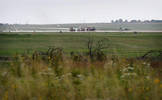 Two pilots of a T-38 Talon II jet are in stable condition after ejecting from the aircraft after the plane had a blowout on takeoff about 10:45 Tuesday morning.