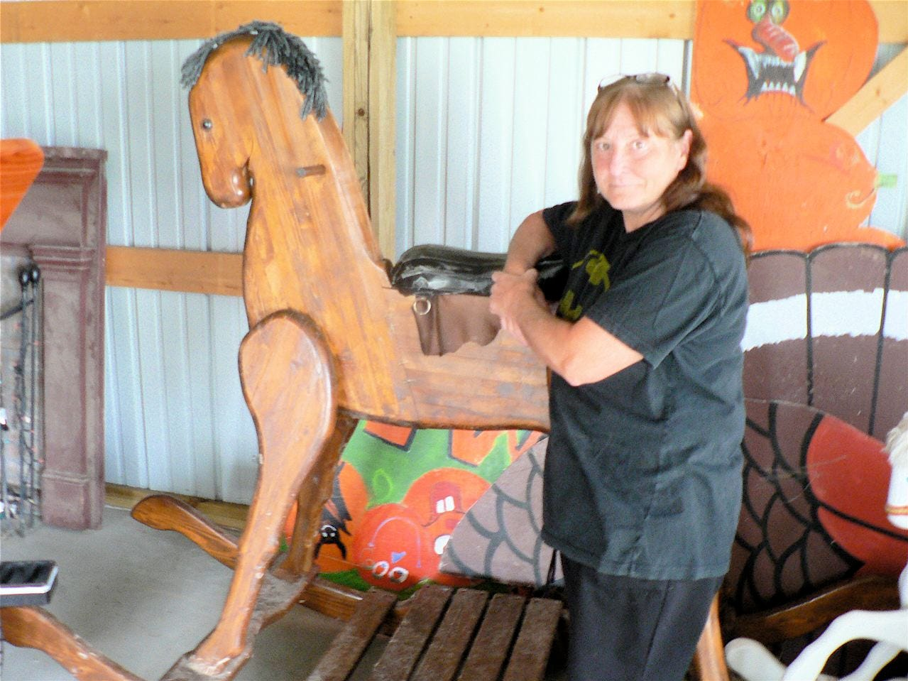 Want your picture taken with a six-foot rocking horse? Diane has the horse.