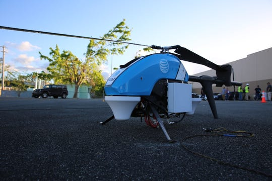 AT&T's Flying COW (cell on wings) was deployed in Puerto Rico in 2017 after Hurricane Maria. Flying 200 feet above the ground, it can provide wireless connectivity to customers in an up to 40-square mile-area.