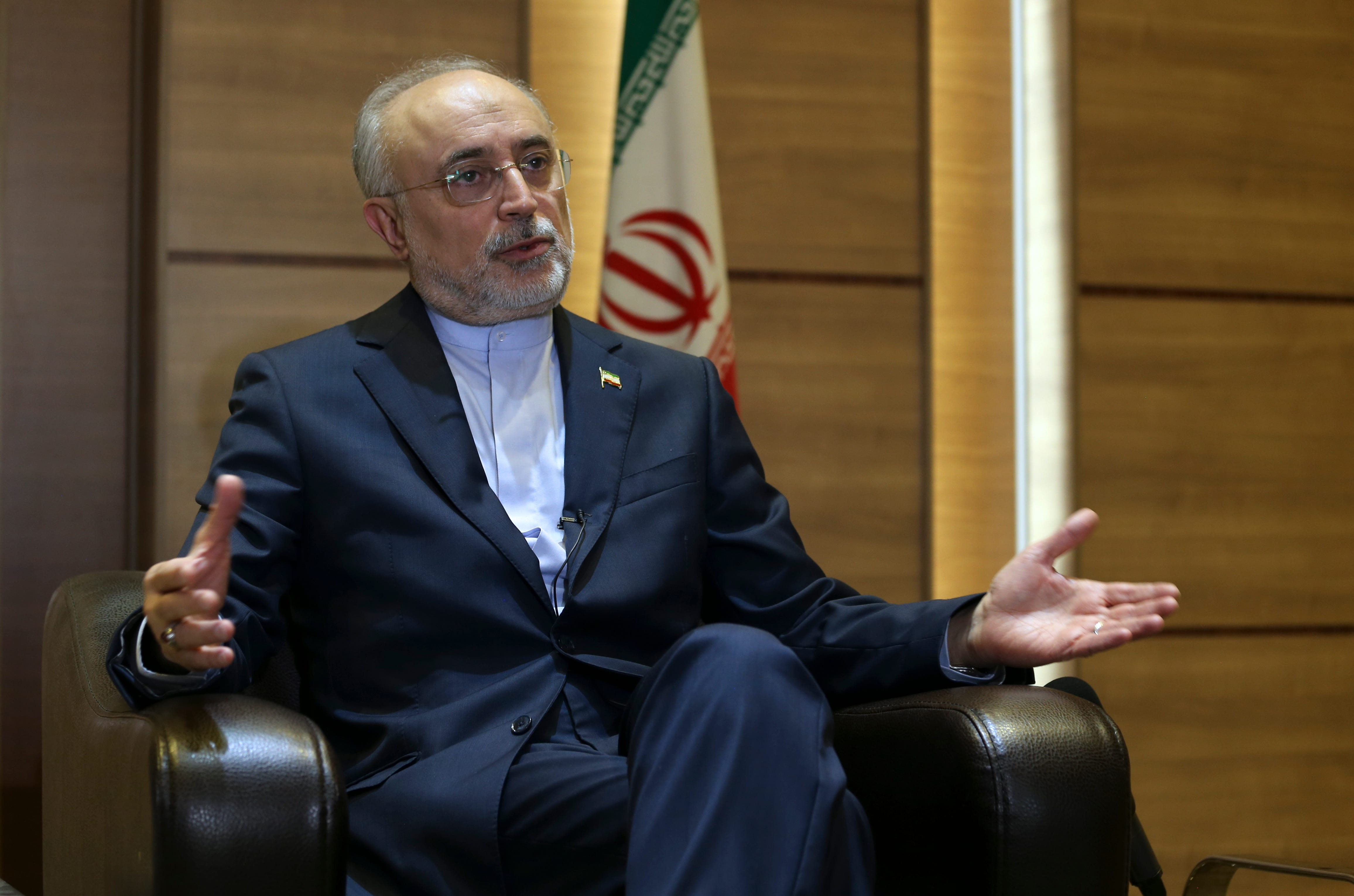 Iran's nuclear chief Ali Akbar Salehi speaks in an interview with The Associated Press at the headquarters of Iran's atomic energy agency, in Tehran, Iran, Tuesday, Sept. 11, 2018. Salehi told The Associated Press that he hopes the atomic deal between Tehran and world powers survives, but warns the program will be in a stronger position than ever if not. (AP Photo/Vahid Salemi) ORG XMIT: VAH103