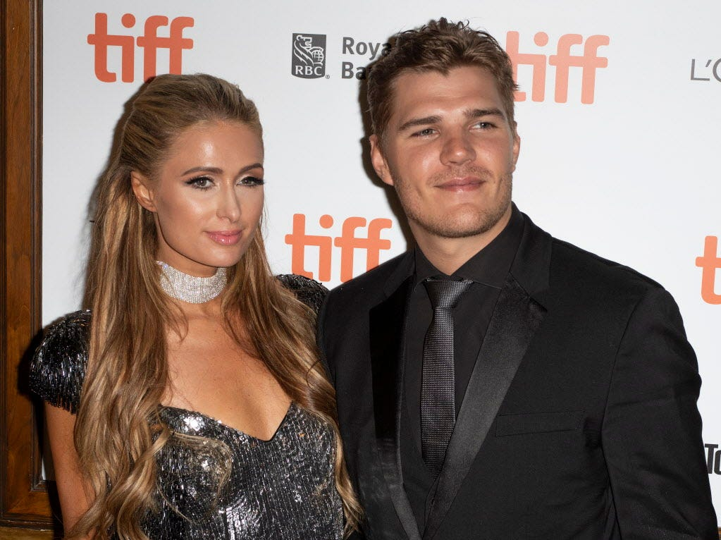 epa07011608 US actor and cast member Chris Zylka (R) and girlfriend Paris Hilton (L) arrive for the screening of the movie 'The Death and Life of John F. Donovan' during the 43rd annual Toronto International Film Festival (TIFF) in Toronto, Canada, 10 September 2018.  EPA-EFE/WARREN TODA ORG XMIT: WTX33