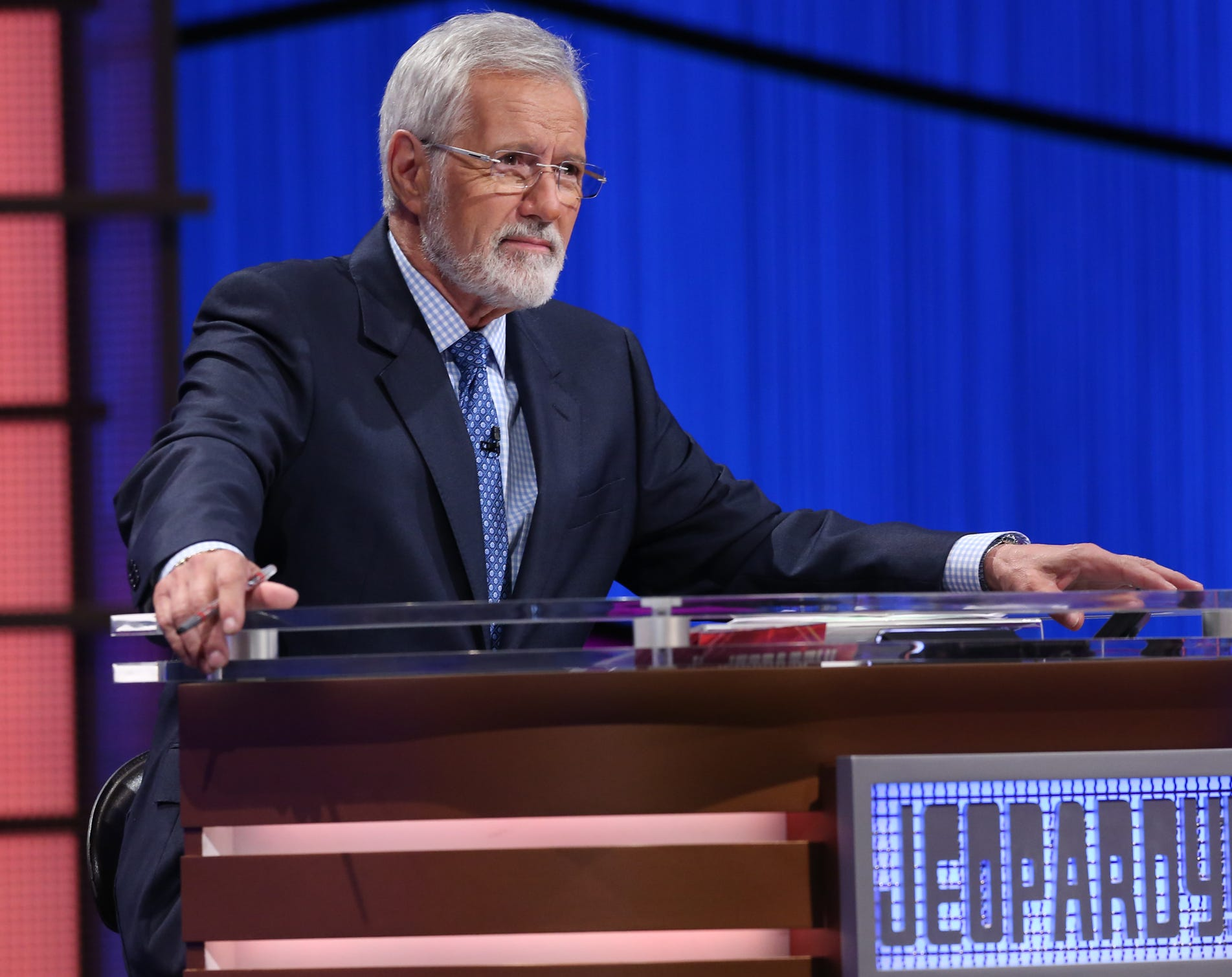 """Alex Trebeck returned to """"Jeopardy!"""" with a beard for the show's 35th anniversary, which he has since shaved."""