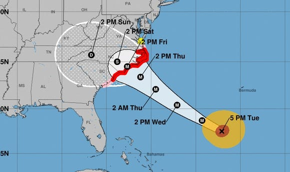 This map from the National Hurricane Center shows the expected track for Hurricane Florence as of 5:20 p.m. ET on Tuesday, Sept. 11, 2018.