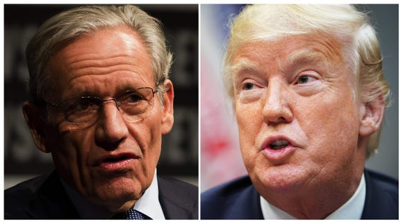 Associate Editor of the Washington Post Bob Woodward, left, speaks at the Newseum in Washington during an event marking the 40th anniversary of Watergate on June 13, 2012; and President Donald Trump speaks during an event to announce a grant for drug-free communities support program, in the Roosevelt Room of the White House in Washington, on Aug. 29, 2018.
