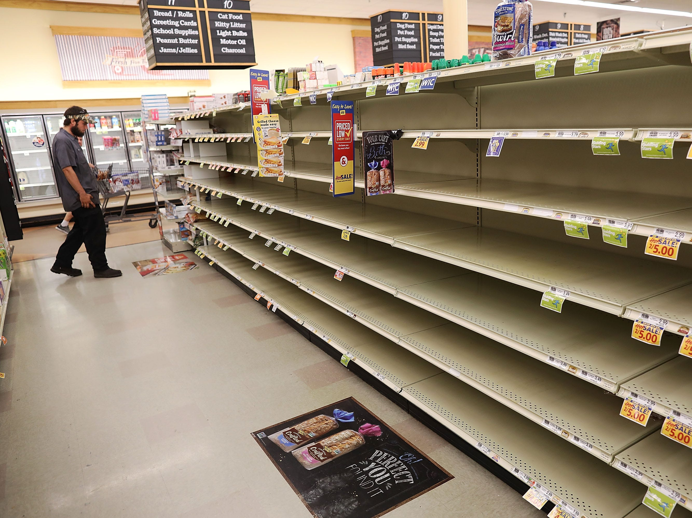 MYRTLE BEACH, SC - SEPTEMBER 11:  A store's bread shelves are bare as people stock up on food ahead of the arrival of Hurricane Florence on September 11, 2018 in Myrtle Beach, South Carolina. Florence, already packing 130 mph winds, is expected to make landfall by late Thursday at near Category 5 strength along the Virginia, North Carolina and South Carolina coastline.
