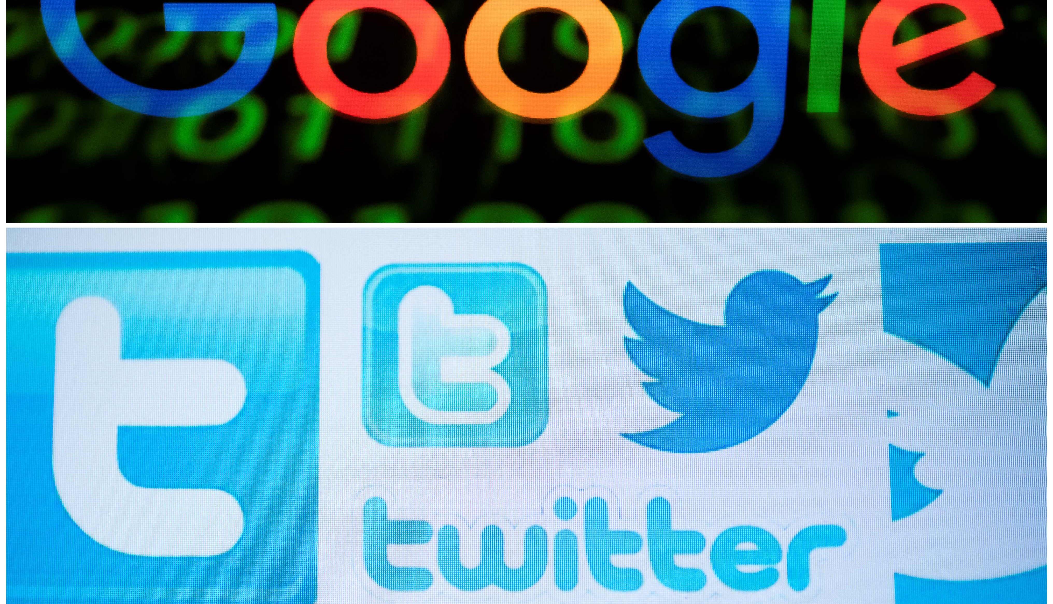 Google, Twitter and Facebook logos.