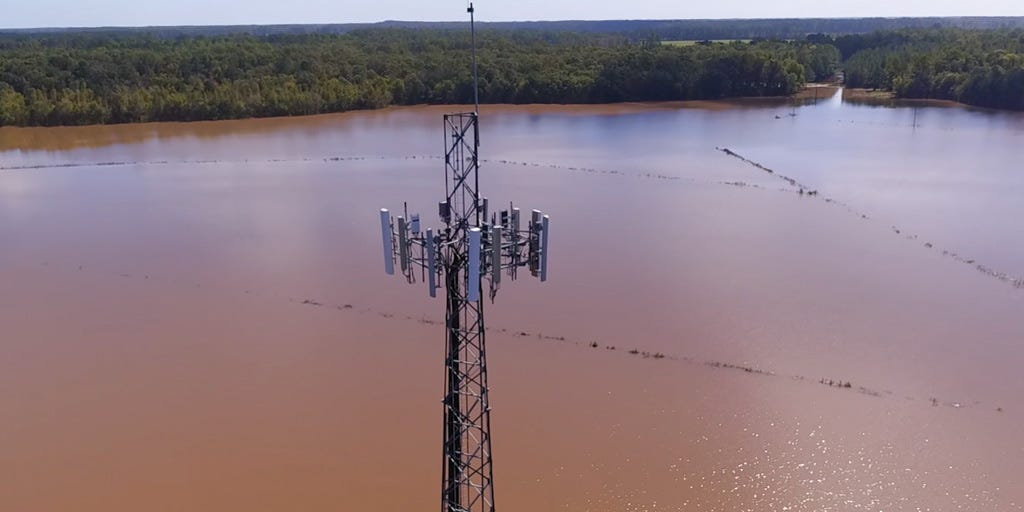 A cell site flooded during Hurricane Matthew in 2016. Verizon used a drone to check it for need of possible repairs.