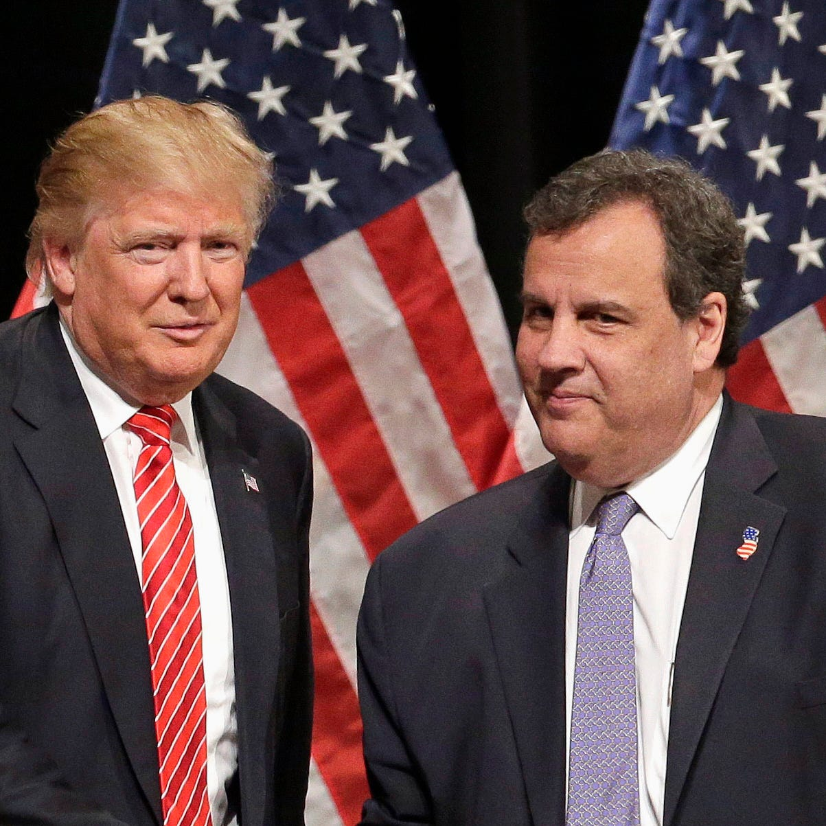 In this March 14, 2016 file photo, Republican presidential candidate Donald Trump shakes hands with New Jersey Gov. Chris Christie in Hickory, N.C.